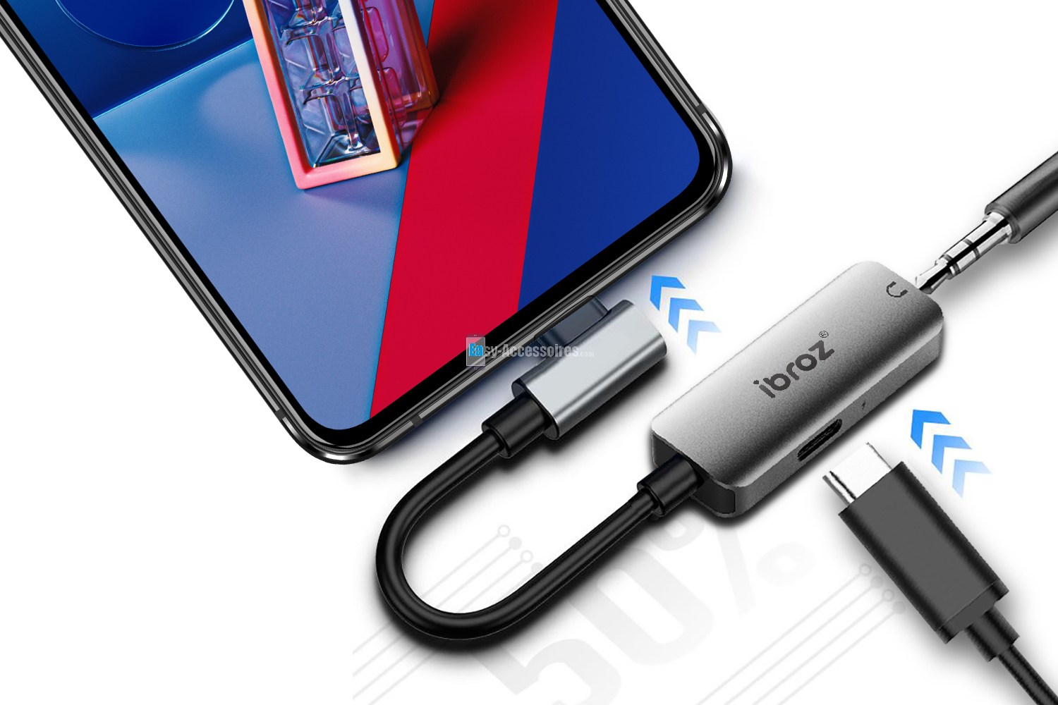 Ibroz Adaptateur USB Type C / Jack  audio 3.5mm + Fast  Charge 18W