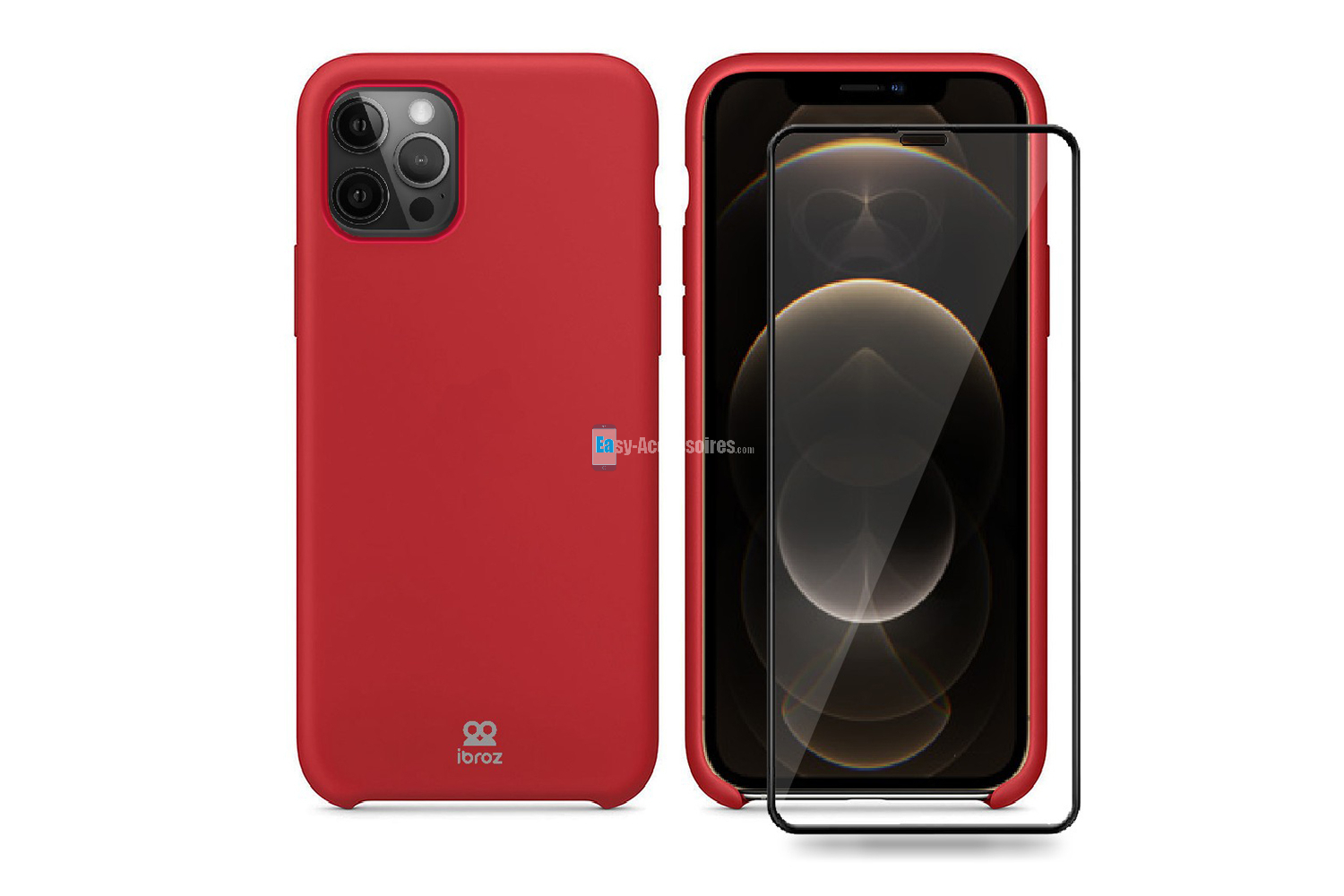 iPhone 12 Pro Max Coque Liquid Rouge + Verre Trempé